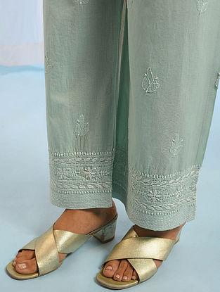 Aqua Tie -Up Waist Chikankari Cotton Pants