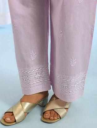 Pink Tie -Up Waist Chikankari Cotton Pants