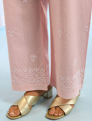 Peach Tie -Up Waist Chikankari Cotton Pants