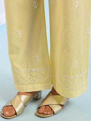 Yellow Tie -Up Waist Chikankari Cotton Pants