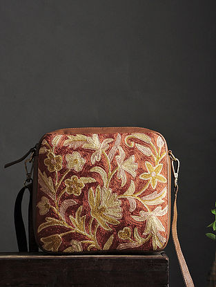 Orange-Yellow Crewel Embroidered Silk Sling Bag