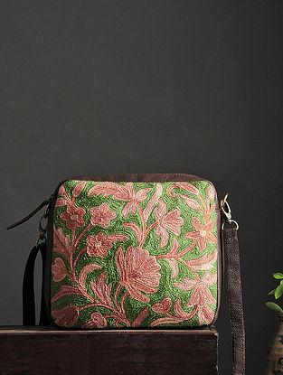 Pink-Green Crewel Embroidered Silk Sling Bag