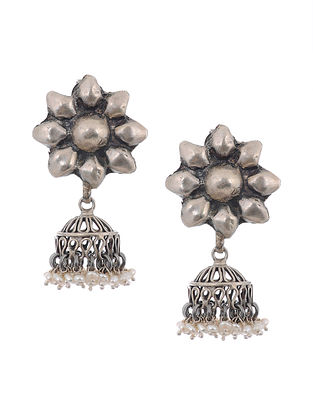 Tribal Silver Jhumkis Earrings with Pearls