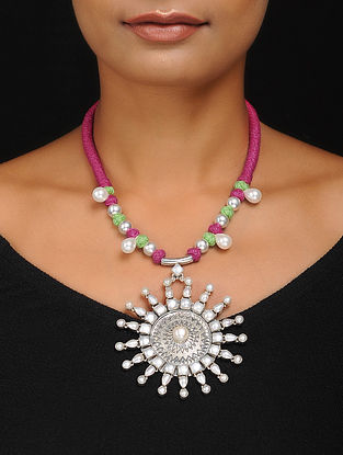 Pink-Green Thread Silver Necklace with Pearls