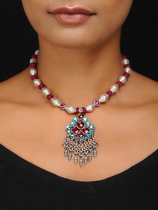 Maroon Thread Dholki Beaded Silver Necklace