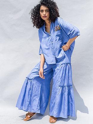 Blue Embroidered Cotton Silk Shirt