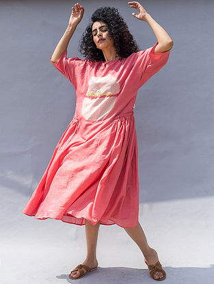 Pink Clamp-dyed Cotton Silk Dress