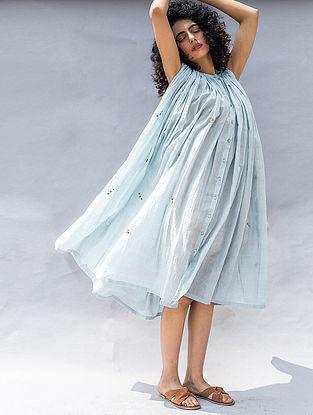 Blue Embroidered Cotton Silk Dress