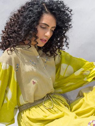 Green Embroidered Elasticated Waist Cotton Silk Skirt