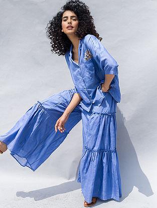 Blue Elasticated Waist Cotton Silk Pants