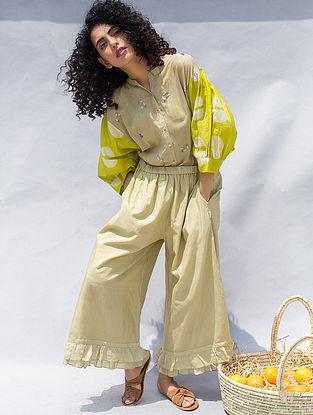 Green Elasticated Waist Cotton Silk Pants