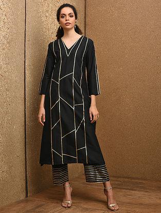 Black Gota Trimmed Cotton Silk A-Line Kurta with Palazzos (Set of 2)