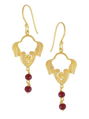 Maroon Glass Drop Gold-plated Earrings