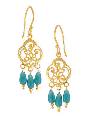 Teal Glass Drop Gold-plated Earrings