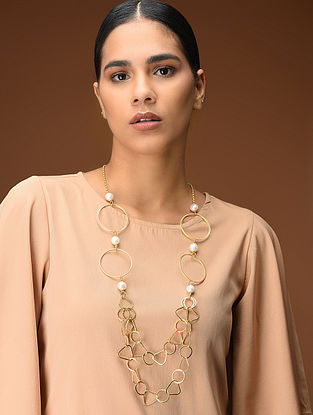 Classic Gold-Plated Pearl Necklace