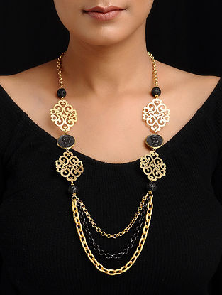 Black Gold-Plated Brass Necklace