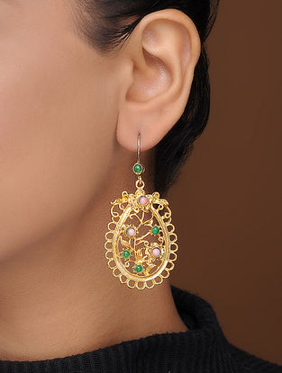 Green-Pink Gold-Plated Brass Earrings