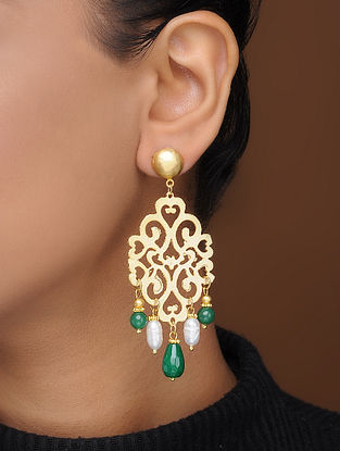 Green-White Gold-Plated Brass Earrings