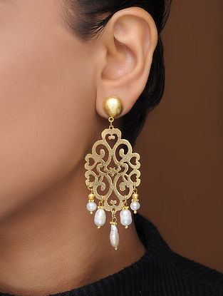 White Gold-Plated Brass Earrings