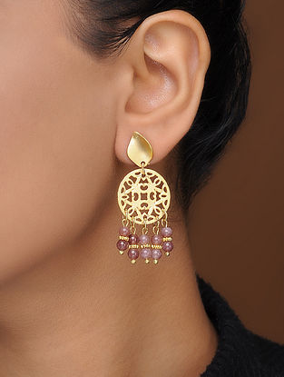 Purple Gold-Plated Brass Earrings