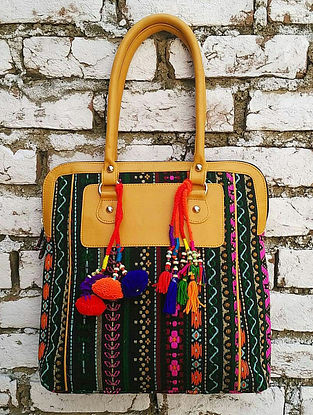 Black-Multicolored Hand Block-Printed Jacquard Tote with Tassels