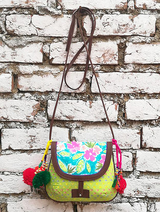 Green-Multicolored Hand Block-Printed Cotton Sling Bag with Tassels