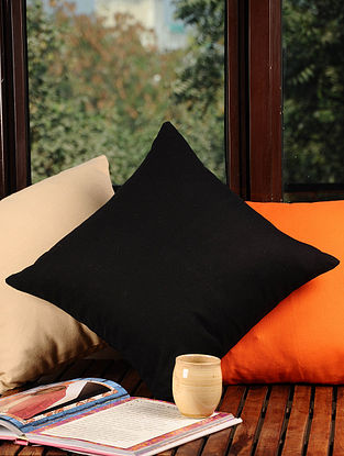 Black Solid Cushion Cover 16in X 16in