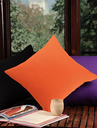 Orange Solid Cushion Cover 16in X 16in