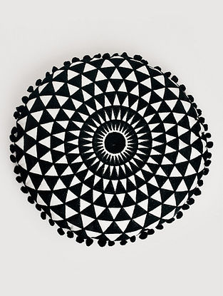 Daphne Raven Black Embroidered Cotton Cushion (Dia - 15in, H - 2.5in)