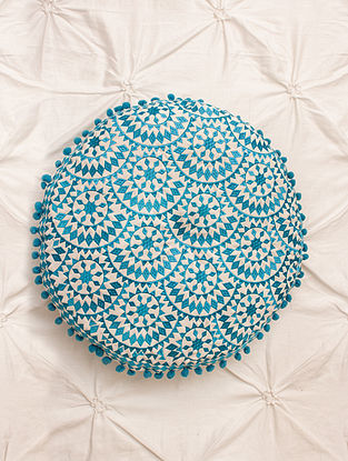 Rosa Turquoise Embroidered Cotton Cushion (Dia - 15in, H - 2.5in)