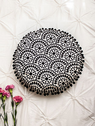 Fiona Black Embroidered Cotton Cushion (Dia - 15in, H - 2.5in)