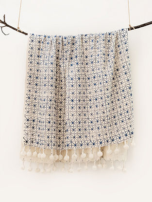 Aztec Beige and Blue Handblock Printed Cotton Throw (66in x 50in)