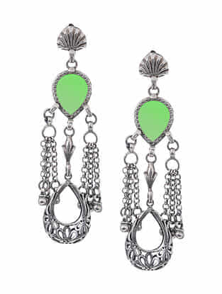 Green Glass Silver Earrings