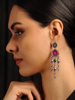 Pink Glass Tribal Silver Earrings