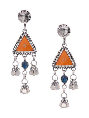 Orange Glass Tribal Silver Earrings