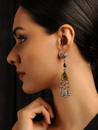 Yellow Glass Tribal Silver Earrings