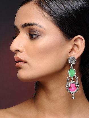 Green-Pink Glass Tribal Silver Earrings