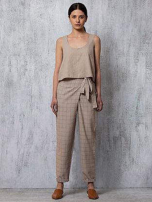 Rust Checkered Handwoven Cotton Pants