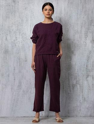 Plum Elasticated Waist Handwoven Cotton Pants