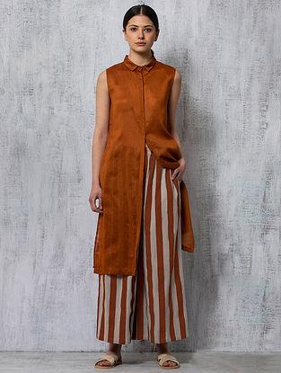 Rust Striped Handwoven Cotton Pants