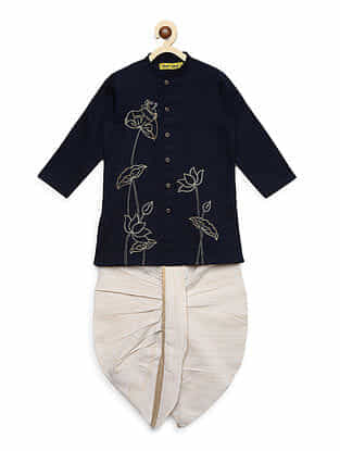 Krishna Cow and Bel Navy Blue Embroidered Cotton Kurta with Off-White Dhoti