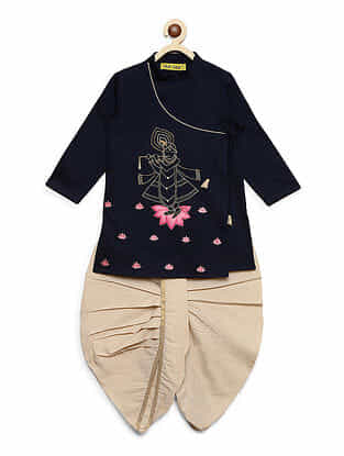 Krishna Murli Navy Blue Embroidered Cotton Kurta with Off-White Dhoti