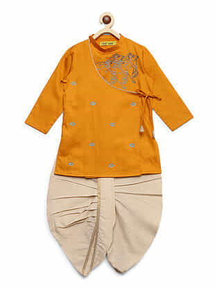 Krishna Cow and Herd Mustard Embroidered Cotton Kurta with Off-White Dhoti