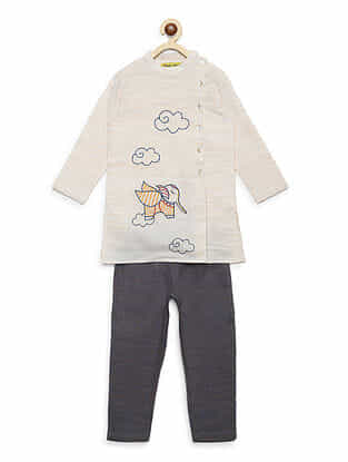 Gond Elephant Off-White Embroidered Cotton Kurta with Grey Pyjama