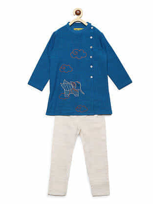 Gond Elephant Blue Embroidered Cotton Kurta with Off-White Pyjama