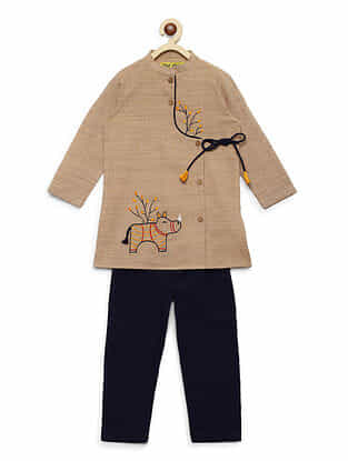 Gond Rhino Beige Embroidered Cotton Kurta with Blue Pyjama