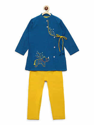 Gond Rhino Blue Embroidered Cotton Kurta with Yellow Pyjama