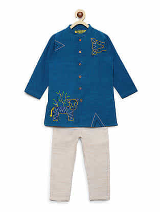 Gond Tiger Blue Embroidered Cotton Kurta with White Pyjama