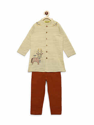 Gond Deer Ginger Brown Embroidered Cotton Kurta with Pyjama