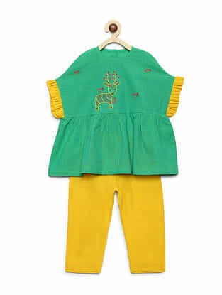 Gond Deer Green Embroidered Cotton Ruffle Top with Yellow Trousers